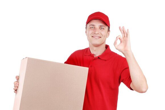 Courier in red on white background